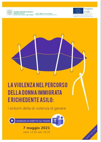 """Locandina """"La violenza nel percorso della donna immigrata e richiedente asilo: i sintomi della violenza di genere"""""""